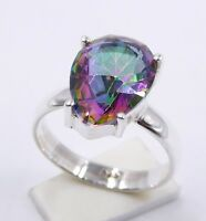 4.10 Gm Mystic Topaz Ring Stone 925 Solid Sterling Silver Ring Size 9 us  u-273