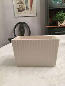 "Vintage Hull USA Art Pottery Rectangle Planter Dish Ivory Ribbed 4""Tall"