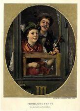 Friedrich Prölss Fröhliche Fahrt Paar in bayrischer Tracht Zug... Kunstdruck1896