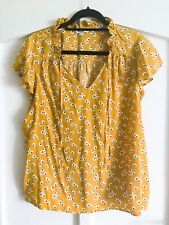 Boden Yellow Blouse Top Size 16