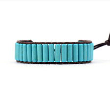 Natural Beaded Oblong Blue Turquoise Leather Cuff Bracelet, Friendship, Stacking