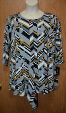 Womens Brown Gray Geometric Alfani 3/4 Sleeve Shirt Size 2X NEW NWT
