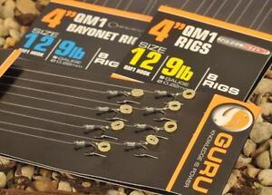 "GURU QM1 READY TIED - 4"" & 15"" - BARBLESS HOOKS TO NYLON BAIT BAND RIGS-FISHING"