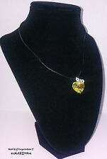"""CRYSTAL HEART NECKLACE MADE WITH SWAROVSKI CRYSTAL 16"""" LEATHER CORD BEST GIFT"""