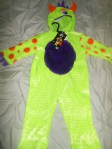 Baby Halloween All in One Green Monster Costume Outfit with Hood Size 9-12 Mths