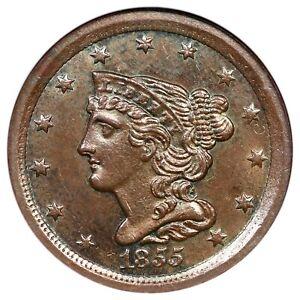 1855 C-1 NGC MS 62 BN Braided Hair Half Cent Coin 1/2c