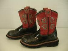 Girls sz 1.5 M Ariat Fiesta Showbaby Black Croc Red Leather Cowboy Western Boots