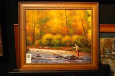 "Original Oil Painting    "" FISHING TIME FOR I "" Framed by Adams"