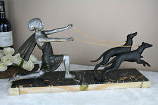 Art deco French spelter Group Lady dogs whippets marble base statue sculpture