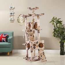 """New listing 67"""" Cat Tree Scratching Tower Condo Post Pet Kitty Playhouse Beige W/ Paws"""