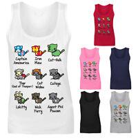 Womens Kitty Cat Avengers Super Hero Characters Funny Vest Tank Top NEW UK 8-16