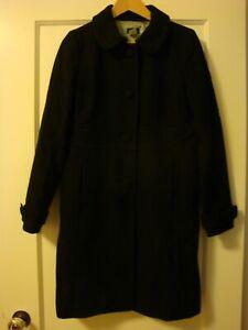 Women's J.Crew Black Wool Jacket Coat Size 8