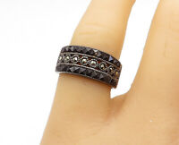 925 Sterling Silver  - Vintage Sapphire & Marcasite Band Ring Sz 7 - R15414