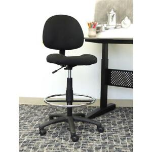 Armless Drafting Stool Counter Height Chair with Double Wheel Casters Black