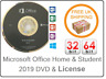 New Microsoft Office Home And Student 2019 License Key & DVD 1PC 32 & 64 Bit