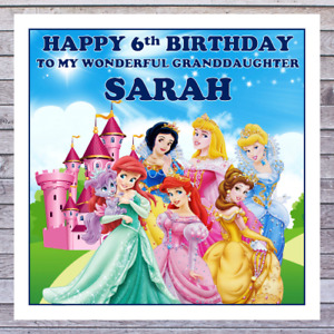 KIDS PRINCESS BIRTHDAY CARDS - personalised with any AGE RELATIONSHIP & NAME