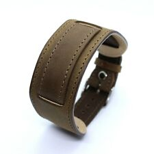 P&B FB1 olive leather cuff watch strap 18 mm lugs pass through military style