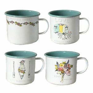 600ML Set of 4 White & Turquoise Two-Tone Floral Mugs with 'Love Dwells Here' Qu