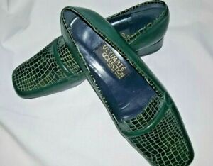 Ultimate Collection Dark Green Leather Ladies Shoes Size 6 - UK size 5.5
