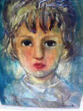 """SOURDILLON Berthe (1895-1976) Huile sur toile ancienne """"Jeune enfant blonde""""1937"""