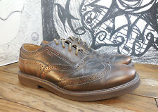Men's FOSSIL Goldish/Brown Leather Dress Casual WingTipOxfords Shoes Size 9.5 D