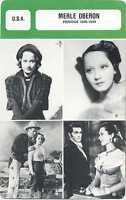 Actress Card. Fiche cinéma. Merle Oberon (U.S.A.) période 1930-1939