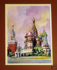 KREMLIN MOSCOW RUSSIA Watercolors ORIGINAL SIGNED Matted Framed MIXED MEDIA FAB!