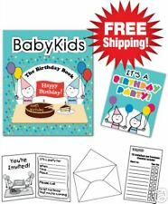 Birthday Baby/Toddler Set  10 Invitations/10 Envelopes + 1 Fun Book Ages 1,2,3