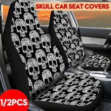 1Pcs Skull Print Front Car Truck Seat Cover Fabric Cases Protector Breathable
