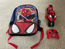 Spiderman Toddler Children's PRE-OWNED Backpack Remote Controlled Motorcycle LOT