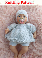 """Knitting pattern 12-18"""" doll or baby Double Frilled Angel Top, Pants and Hat"""