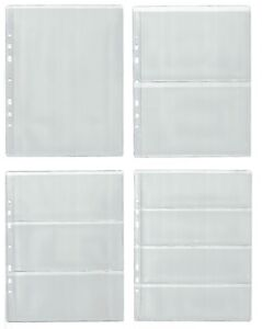 Pages for banknote album, dividers - BIG CHOOSE - Four type sleeves 1, 2, 3, 4
