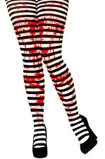 Black & White Striped Tights Ladies Fancy Dress Zombie Blood Convict Halloween