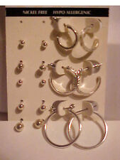 Silver Etched Hoop and Stud Earring Set of 8 Hypo Allergenic Earrings