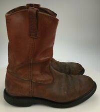 Distressed Worn RED WING Pecos Red Brown Boots Supersole Men's 9.5 E WIDE Cowboy