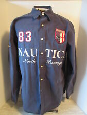 Nautica North Passage Navy Blue Large Spellout L.Sleeve Shirt Size Large