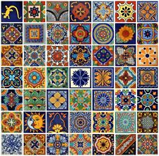 "100 Mexican Talavera Folk Art Ceramic Tiles  4"" Decorative 50 Design"