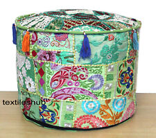 "22"" New Indian Handmade Green Round Ottoman Pouf Cover Patchwork Footstool Decor"