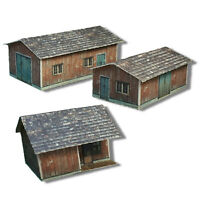 N Scale Buildings Kit - (3) Weathered Effect Sheds - Coverstock Model Kit WS3N
