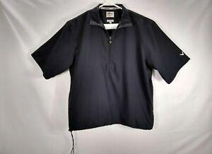 Callaway Men's Shirt S Windbreaker Black Short Sleeve 1/4 Zip Pullover Polyester