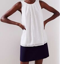 Ann Taylor LOFT Dot Textured Shirred Shell Top Size X-Small, X-Small Petite NWT