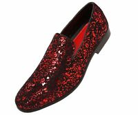 Amali Mens Red & Black Splatter Metallic Slip-on Dress Shoe : Morris-005