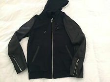 Authentic Diesel L-SIRIS Mens Hoody Leather Jacket Black Size XL