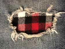 """Set of 2 Red, Black & White Plaid 4"""" x 4"""" Iron on Peek-A-Boo Jean Patches"""