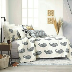 3-Pc Bee & Willow Lauren Liess Live Paisley King Comforter Set White Navy Blue