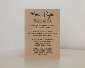 Mother and Daughter It's a bond that spans the years, Mum Daughter Poem Card