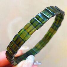 Tourmaline Crystal Bangle Bracelet 7.5*4.5*2.6mm Natural Brazil Green