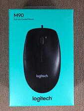BNIB Logitech Brand M90 Full Sized Corded Wired Desktop Laptop Computer Mouse