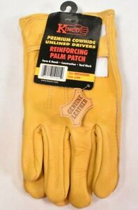 KINCO 199 Mens MEDIUM Grain Cowhide Gloves,Reinforcing palm patch Golden