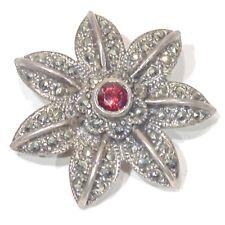 "Vintage c. 1980s sterling silver garnet marcasite flower pin brooch, 1.25"" 8.5 g"